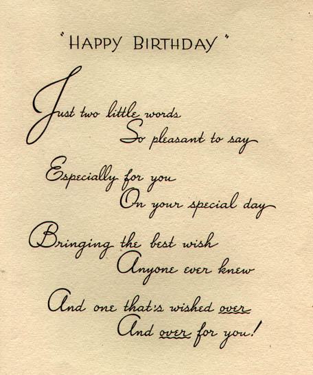 Happy Birthday card: Inside