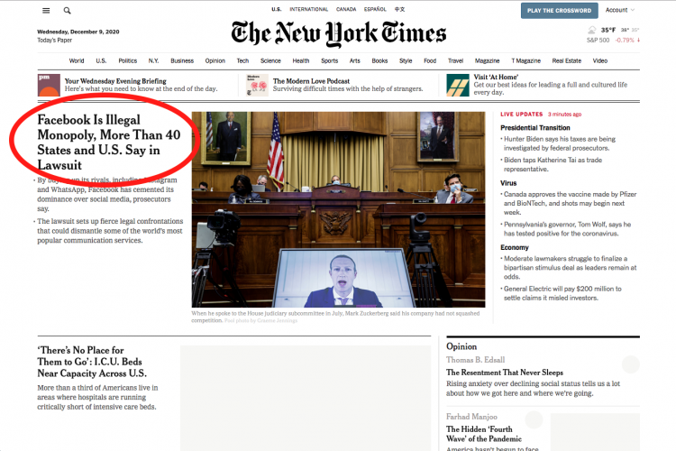 """Pointing to this <a href=""""https://www.nytimes.com/2020/12/09/technology/facebook-antitrust-monopoly.html"""" target=""""_blank"""">New York Times article</a> (Dec 9, 2020)"""