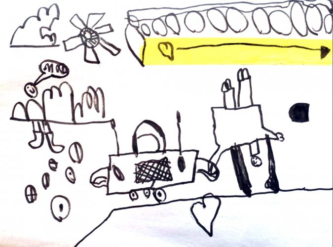 """""""A man holding hands with a radio on wheels"""" by Charlie, age 6.<br>Email your original art to <b>doubledip@wfmu.org</b> to have it featured!"""
