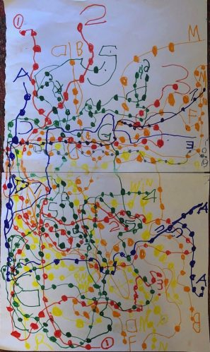 Subway map by Nathan, age 5. Email your original art to doubledip@wfmu.org to have it featured!