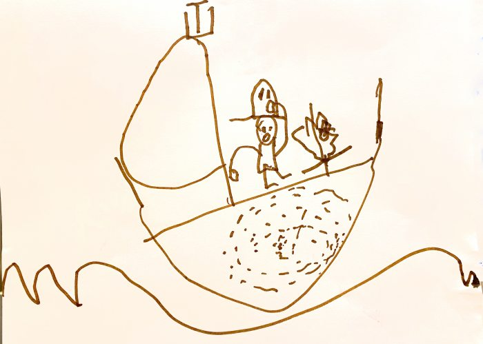 The Captain was a Monkey, by listener Raffi, age 5. Send YOUR artwork to Doubledip@wfmu.org