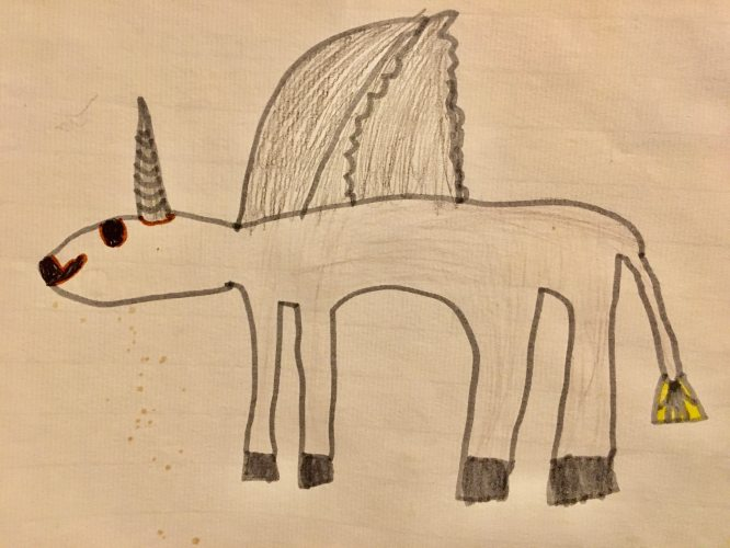 Alicorn drawing by Angus. Email your original art to doubledip@wfmu.org to have it featured!