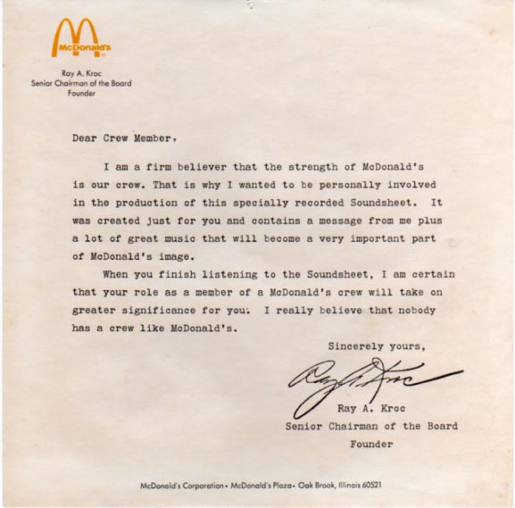 mcdonald u0026 39 s employee training letter